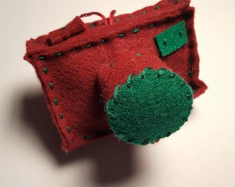 Felt Camera Christmas Ornament Plush 3-D: Red, Green, Holiday