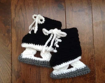 Hockey Skate Booties, Baby Crochet NHL Ice Skates, Photo Prop, Made to Order (4 Sizes)