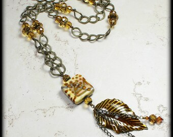 Tupelo Honey... Handmade Jewelry Necklace Antique Brass Caramel Topaz Bronze Copper Long Chain Lampwork Glass Crystal Enamel Leaf Leaves