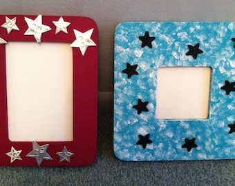 Wooden Picture Frames with Stars - FREE U.S. SHIPPING