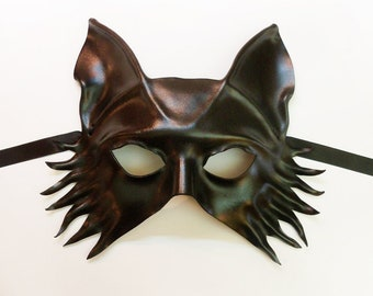 Leather Mask Black Wolf Fox Dog by Teonova entirely handcrafted very lightweight and easy to wear
