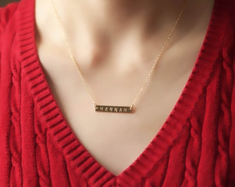 Gold initial bar necklace, gold bar initial necklace, gold bar necklace, personalized necklace, initial necklace