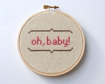 OH BABY Modern Cross Stitch Pattern