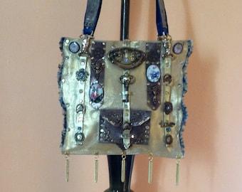 7 Horses,steampunk,handbag,genuine leather,gold colour,brass,copper,Swarovski crystal,ornaments,stamping,denim