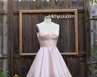 50's rockabilly dresses, retro style bridesmaids dress, classic 1950s dress with full skirt and cummerbund - ASHLEY style