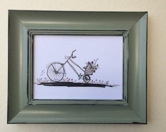 Print of my oringinal paint on paper size 13*18 CM. Bikes. art paper, art, wall art. home decor.