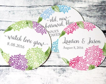 Hydrangea stickers, wedding favor labels, shower favor labels, wedding shower stickers, custom shower labels, custom wedding favor sticker
