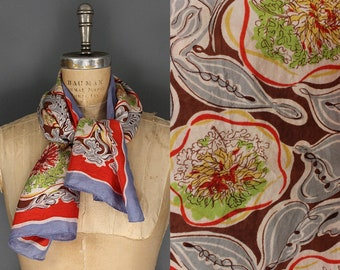 Vintage 1940s 1950s Silk Scarf - 40s 50s Novelty Print Floral Hand Rolled Silk Scarf - 1940s/1950s Abstract Flower Print Rectangle Scarf