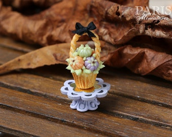 MTO-Halloween Basket Cupcake with Colourful Candy Pumpkins - Showstopper A - 12th Scale Miniature Food