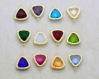 Birthstone Jewel Charms Triangle Faceted Glass in 24k GOLD Plated Brass Setting Drop Gem Jewels 14mm Triangle Bezel Birthday Stone ()