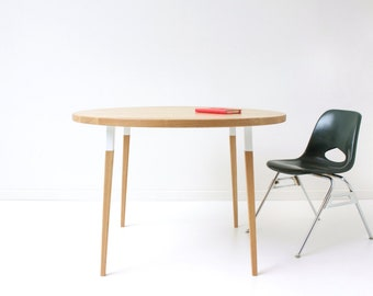 Sunny Side Up Round Dining Table - Minimal Mid-Century Modern Table