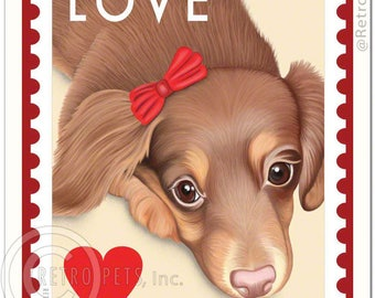 "11x14 Dachshund Art - Doxie Love - ""Furever"" Stamp -  Art print by Krista Brooks"