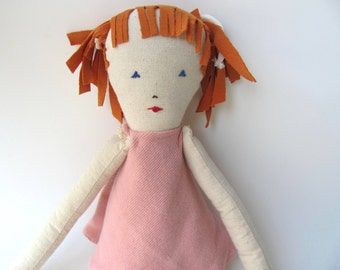 Cotton doll. Handmade.Child friendly.Recycled.soft Toy.Fabric Doll.Doll   children love-pink
