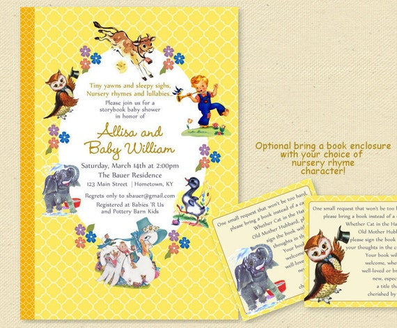 Baby Shower Nursery Rhyme Storybook Invitation Book Baby