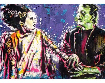Frankenstein and His Bride - 18 x 12 High Quality Pop Art Print