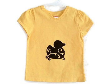 Rubber Ducky Screenprinted Yellow Tshirt Black Ink