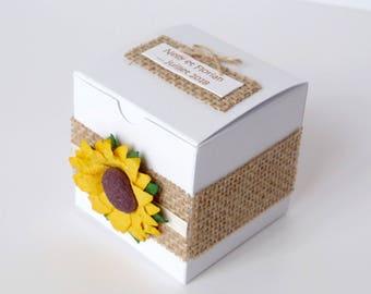 Ensemble de 10 boîtes à dragées cubes pour mariage/anniversaire, thème nature/champêtre tournesol