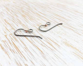 Hypoallergenic Niobium Earwires by Tierracast 12mm / 20g / 10pc, Gray & Copper Loop Earring Wires, Earring Wires, French Hooks (T90512023)