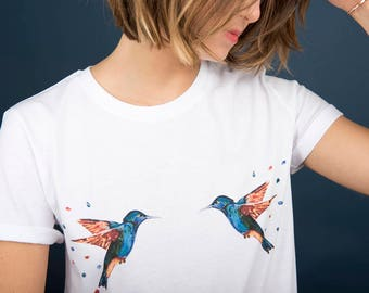 Art type boyfriend T-shirt, hand-made, Hummingbird, 100% cotton organic pattern