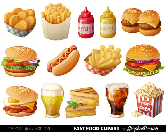 fast food clipart hamburger clip art food vector graphic food rh etsy com fast food clipart images fast food clipart black and white