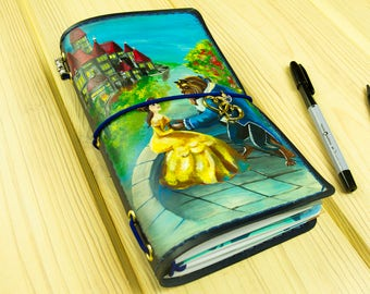 Beauty Beast - Belle - Disney Princess - Travelers Notebook - Leather Journal - Gift for Couple - Anniversary Gift Wedding Gift Handpainted