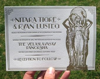 Vintage Gold Art Deco Custom Letterpress Wedding Invitations
