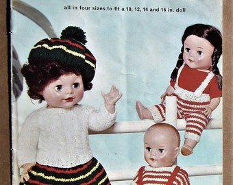 """Dolls' Clothes by P&B SC24 UK vintage 1950s knitting patterns booklet clothing outfits to fit 10"""" 12"""" 14"""" 16"""" dolls 50s original patterns"""