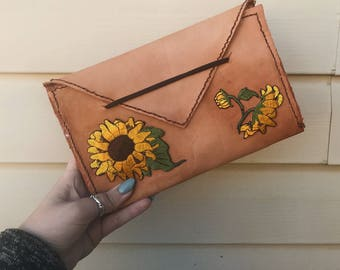 leather sunflower wallet - size L