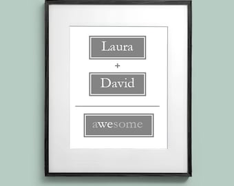 Personalized with Name You + Me = We Wedding or Couples Wall Art Room Decor Print for Home or Office