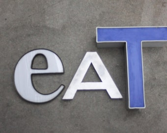 Vintage Salvage Industrial 'eat' Letters / Neon Channel Letter / Kitchen Decor