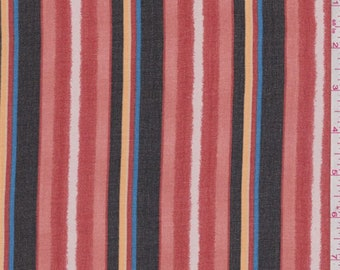 Red/Black/Blush Stripe Chiffon, Fabric By The Yard