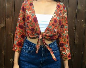 Orange Floral 70's Front Tie Crop Top