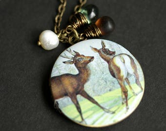 Forest Wildlife Necklace. Brown Deer Locket Necklace with Glass Teardrops and Fresh Water Pearl. Bronze Necklace. Photo Locket.