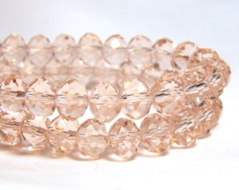 Peach Crystal Beads, Light Peach Crystal Beads, Light Peach Beads, Pale Peach Beads, Peach Crystal Beads, Peach Crystals, D-C42