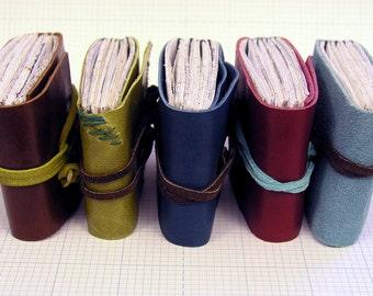 Mini Leather Journal Brown, handbound book