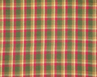 Cotton Homespun Fabric | Holiday Fabric | Cotton Fabric | Plaid Fabric |  Rag Quilt Fabric | ON SALE FABRIC | 1 Yard