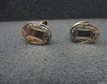 a1059 Vintage Oval Cuff links by HWKCO