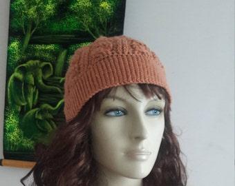 Crochet orange winter hat