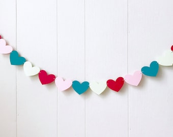 Mint Pink Red Teal Heart Garland / Wedding Decoration / Love Bunting / Anniversary Decor / Photo Prop / Adjustable Hand Sewn