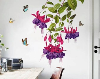 Fuschia pink and purple flowers with butterflies wall stickers for a tropical and colorful home decoration