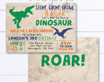 Dinosaur Invitation, Dinosaur Birthday Invitation, Stomp Chomp Growl and Roar, Dinosaur Birthday, Party Invitation, Dinosaur Party Invite