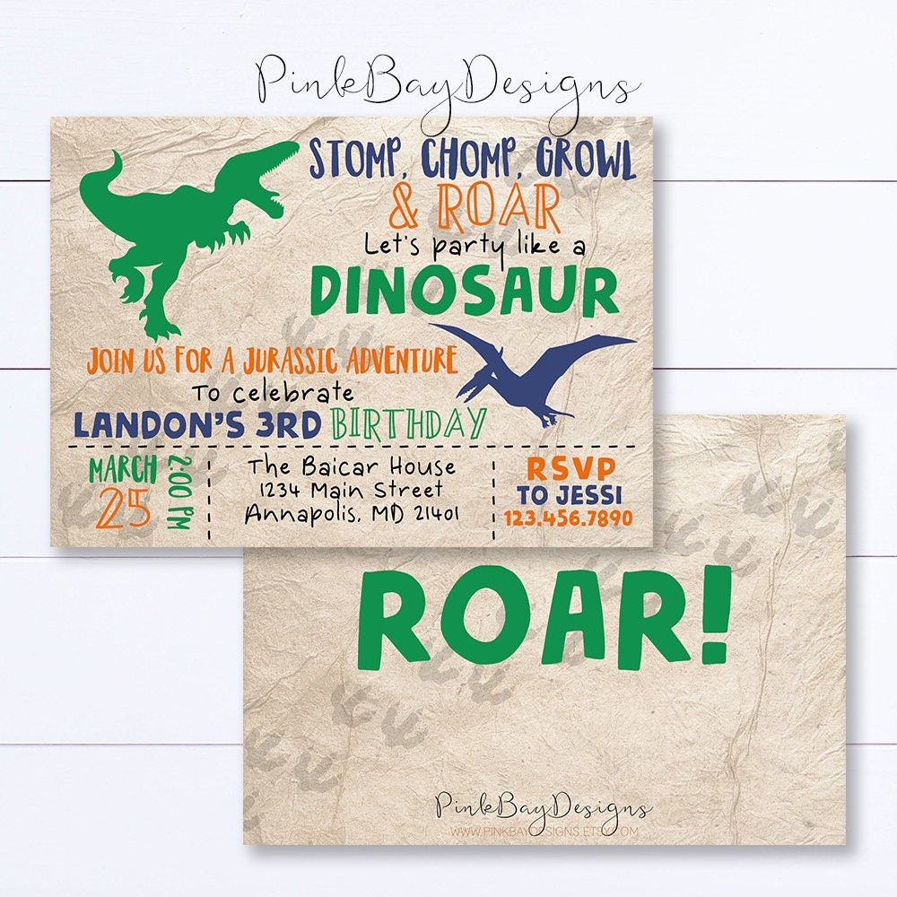 Dinosaur Invitation Dinosaur Birthday Invitation Stomp Chomp