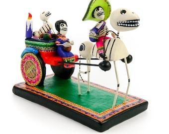 Dia De Los Muertos Clay Folk Art Horse & Cart Day Of The Dead Skull Folk Art