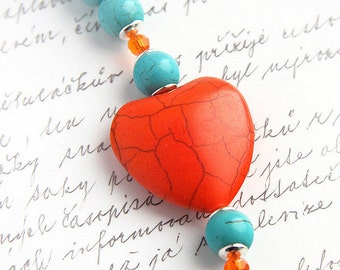 Mothers Day Gift Bright Orange Blue Turquoise Bracelet Colorful Large Heart Mod Fashion Sterling Silver Crystal Toggle Clasp Beaded bracelet