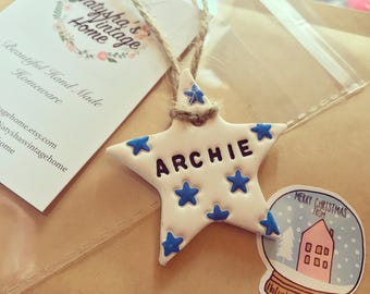 Hand made Starry skies star shaped clay tags, blue star, baby boy, personalised gift, Stocking filler