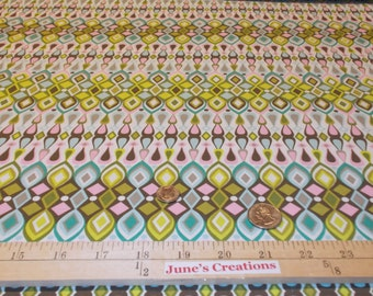 1 Yard Free Spirit Fabric Jenean Morrison Beechwood Park Solstice Yellow Green Pink by the Yd 100% Cotton Quilting Sewing Supplies Easter