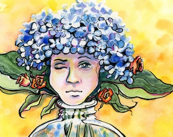 Thinking Cap - Hydrangea Bouquet Original Framed Watercolor