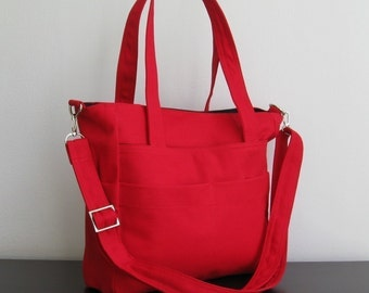 Sale - Red Cotton Canvas Bag, shoulder bag, tote, messenger, diaper, everyday bag - TRACY
