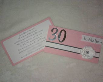 Pink and grey invitation or announcement