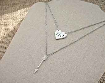 Cupid personalised couples initials heart arrow 2 layer necklace set ~ love engagement gift